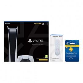 Consola - Sony PS5 Digital Edition, 825 GB, 4K, HDR, Blanco + Media Remote + PlayStation Plus Card 12 meses
